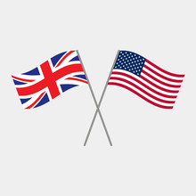 British And American Flags, Ve...