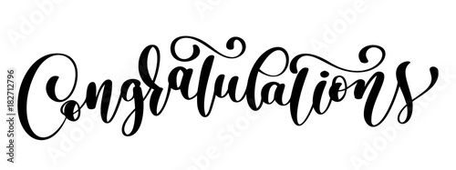 Stampa su Tela Congratulations calligraphy lettering text card with