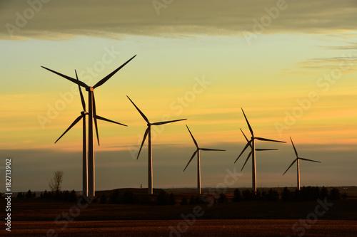 Fotografie, Obraz  Wind turbines producing clean renewable energy in North Dakota.