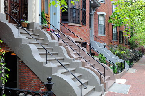 Fotografie, Obraz  Elegant Entry Steps of South End Boston Victorian Row Houses