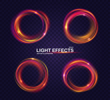 Set Of Colorful Rings With Luminous Swirling Spirals. Glowing Multicolored Circles. Collection Of Brilliant Round Frames, Sparkles Waves And Swirl. Sparkling Neon Light Effect, Shiny Banners