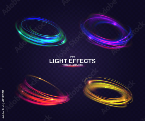 Photo Set of colorful vector light effects