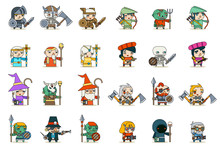 Lineart Male Female Fantasy RPG Game Character Vector Icons Set Vector Illustration