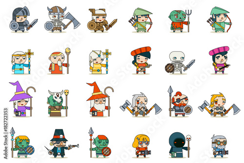 Fotografia Lineart Male Female Fantasy RPG Game Character Vector Icons Set Vector Illustrat