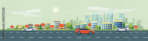 Tuinposter Cartoon cars Flat vector cartoon style illustration of urban landscape road with cars, skyline city office buildings and family houses in small town village in backround. Traffic on the street.