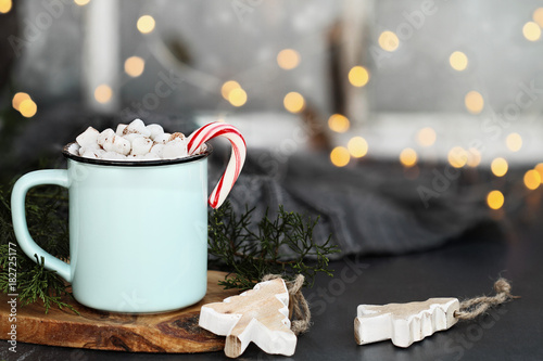 Staande foto Chocolade Hot Cocoa Candy Canes and Marshmallows