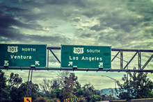 Los Angeles Exit Sign In 101 F...
