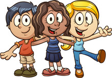 Cute Cartoon Kids. Vector Clip...