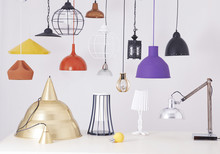 Many Lamps Hanging  White Background
