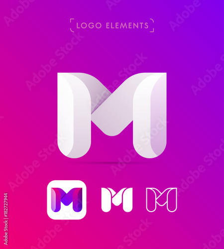fototapeta na ścianę Vector abstract origami letter M logo design template. Material design, flat and line-art style. 3d shape