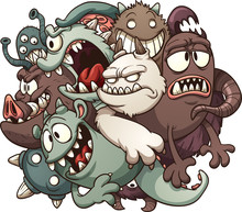 Cartoon Ball Of Monsters. Vect...