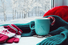 Winter Background. Cup With Ca...