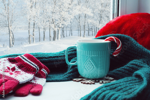 Obraz Winter background. Cup with candy cane, woolen scarf and red gloves on windowsill and winter forest outside - fototapety do salonu