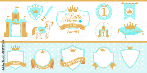 Blue And Gold Prince Party Decor Medieval Set Cute Happy Birthday