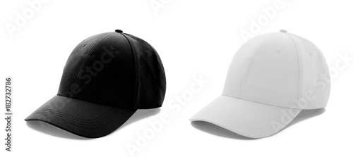 Fotografie, Obraz Baseball cap white and black templates, front views isolated on white background