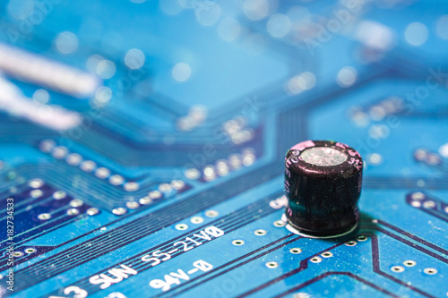 Fotografie, Obraz  Closeup of electronic circuit board with capacitor