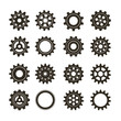 Set of gears on a white background. Vector illustration.