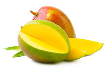 Ripe Mango With Leaves On Whit...