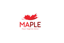 Minimal Maple Leaf Logo Templa...