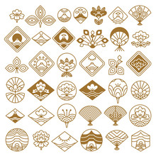 Fan And Lotus Fancy Icons Vect...