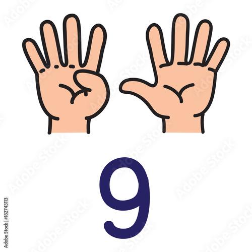Fotografía  Kid's hand showing the number nine hand sign.