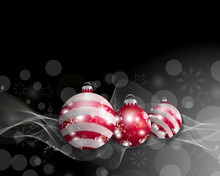 Black Christmas Background With Three Christmas Balls. Decorative Red Baubles For Holiday Design. Vector