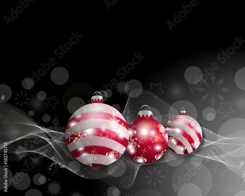 Black Christmas Balls.Black Christmas Background With Three Christmas Balls Decorative