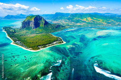 Wall Murals Air photo Aerial view of Mauritius island reef