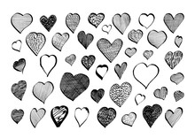 Set Of Hand Drawn Ink Hearts -...