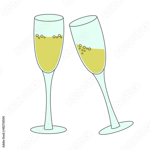two tall glasses of sparkling wine champagne bubbly - concept of new ...