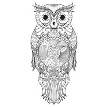 Owl. Zen Art. Design Zentangle...
