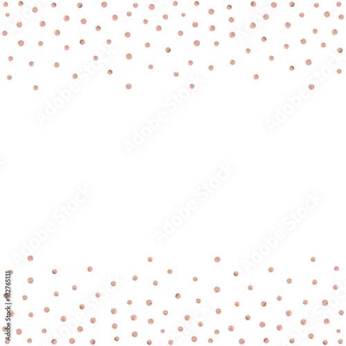 Rose Gold Glitter Beautiful Fashion Background Polka Dot Vector Illustration Pink Golden Dots Confetti Frame