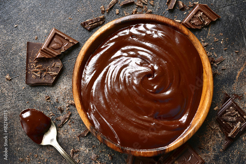 Chocolate ganache in a wooden bowl .Top view with copy space.