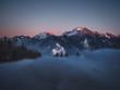 Sonnenuntergang in den Alpen - Alpenglühen