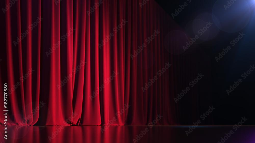 Fototapeta Dark empty stage with rich red curtain. 3d render