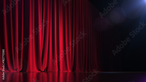 Fotomural  Dark empty stage with rich red curtain. 3d render