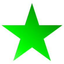 Christmas Star Green - Simple 5 Point Star - Isolated On White
