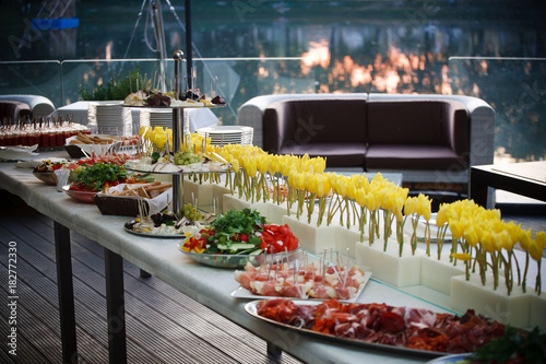 Astonishing Buffet Served Table With Snacks Fruits Canape Sweets And Download Free Architecture Designs Grimeyleaguecom