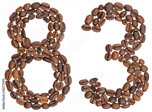 Tela  Arabic numeral 83, eighty three, from coffee beans, isolated on white background