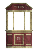 Old Vintage Ticket Booth Isolated On White. 3D Render