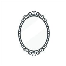 Vintage Mirror Icon. Vector Il...