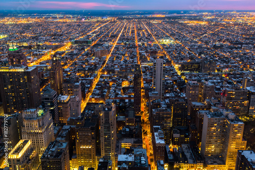Valokuva  Aerial view of Philadelphia with city streets converging towards the edge of the