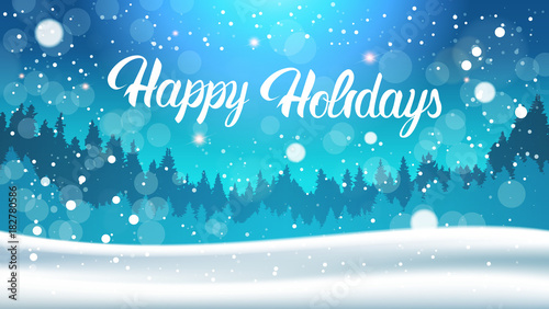 Spoed Foto op Canvas Turkoois Happy Holidays Background Night In Winter Forest Landscape Falling Snow Flat Vector Illustration