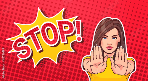 Woman Gesturing No Or Stop Sign Pop Art Style Banner Dot Background Vector Illustration