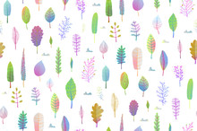 Transparent Effect Watercolor Style Foliage Background. Vector Illustration.
