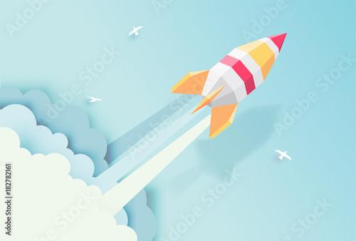 rakieta-globus-chmury-niebo-styl-sztuka-papier-z-pastelowych-kolorow-ilustracji-tones-vector