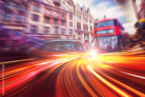 Foto op Canvas Londen rode bus Abstract motion speed background of London City