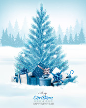 Christmas Holiday Background With A Blue Tree And Presents. Vector.
