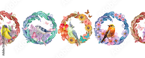 seamless border with floral arabesques and birds. watercolor pai - 182785336