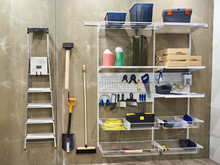 Household Tools In Shed For Home And Garden
